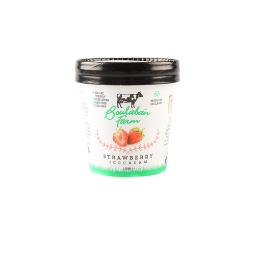 Boulaban Farm Strawberry Ice Cream 125 ml Tubs x 20